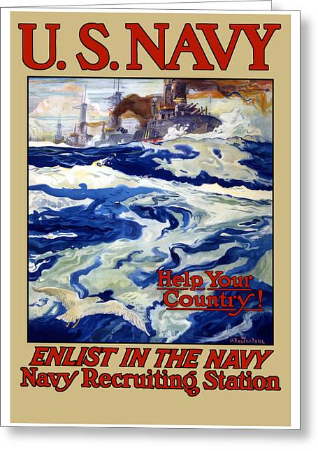 Ship Digital Art Greeting Cards - Enlist In The Navy Greeting Card by War Is Hell Store