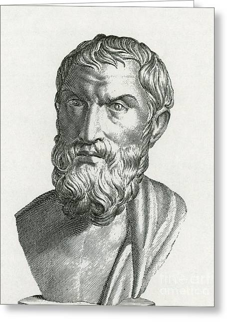 Epicurus Greeting Cards - Epicurus, Greek Philosopher Greeting Card by Photo Researchers