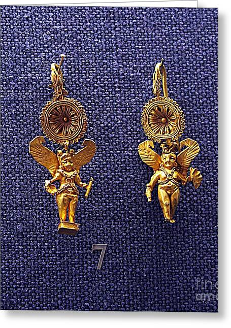 Gold Earrings Greeting Cards - Eros earrings Greeting Card by Andonis Katanos