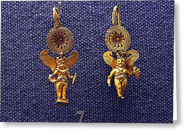 Eros Earrings Greeting Card by Andonis Katanos