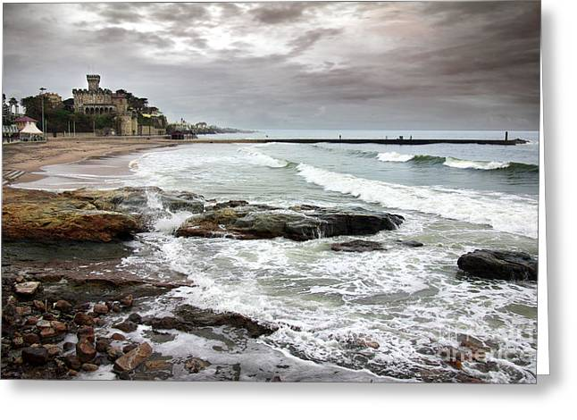 Storm Clouds; Sunset; Twilight; Water Greeting Cards - Estoril Coastline Greeting Card by Carlos Caetano
