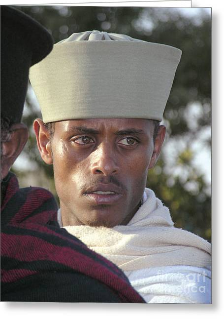 Myspace Greeting Cards - Ethiopian Orthodox Monk Greeting Card by Cherie Richardson