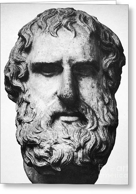Statue Portrait Photographs Greeting Cards - Euripides Greeting Card by Granger
