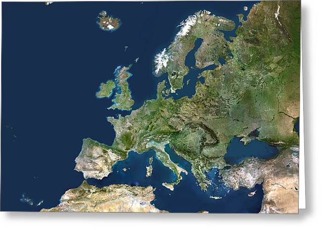Northern Africa Greeting Cards - Europe, Satellite Image Greeting Card by Planetobserver