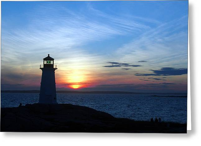 George Cousins Greeting Cards - Evening at Peggys Cove Greeting Card by George Cousins