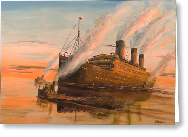 Steam Ship Greeting Cards - Evening Departure Greeting Card by Christopher Jenkins