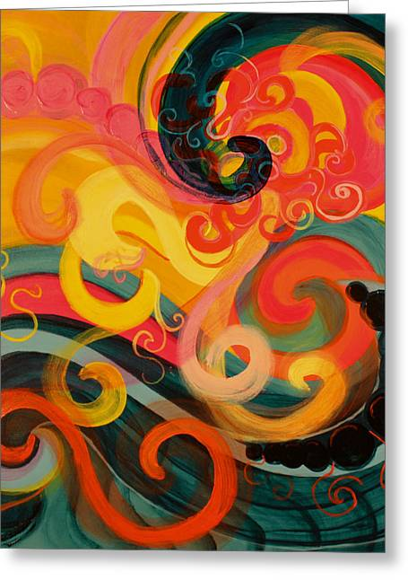 Swirls Of Energy Greeting Cards - Exuberant Greeting Card by Beth Fowler
