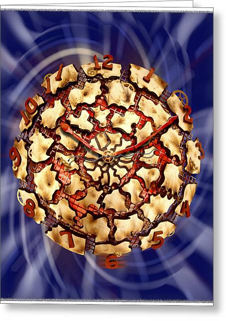 Fire Wood Greeting Cards - Exploding Clock Greeting Card by Mike McGlothlen