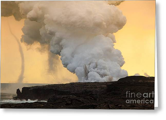 Volcano Greeting Cards - Explosion and Funnel Cloud at Waikupanaha Greeting Card by Craig Ellenwood