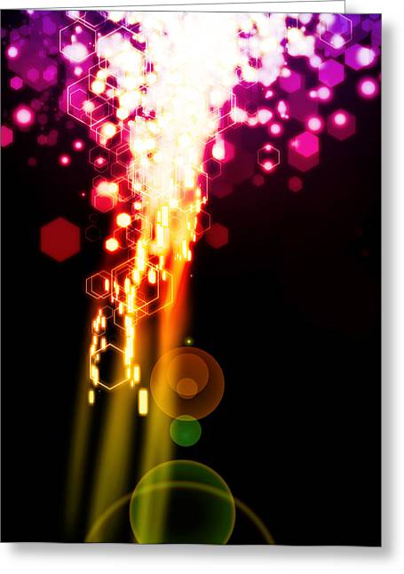 Template Greeting Cards - Explosion Of Lights Greeting Card by Setsiri Silapasuwanchai