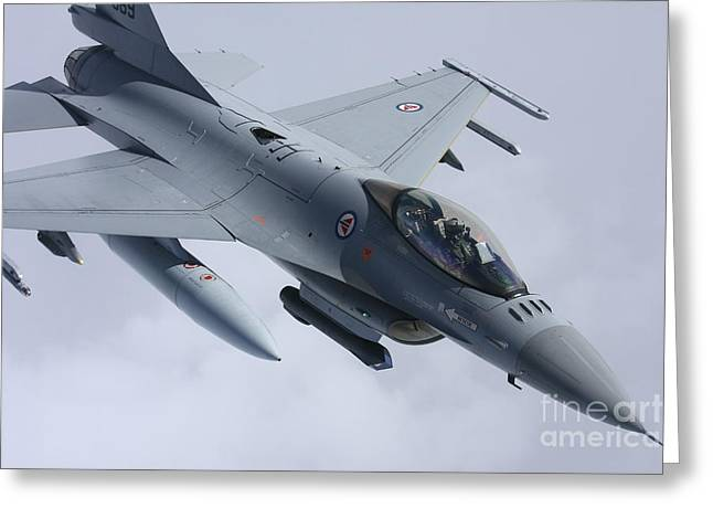 The Higher Planes Greeting Cards - F-16 Fighting Falcon Of The Norwegian Greeting Card by Daniel Karlsson