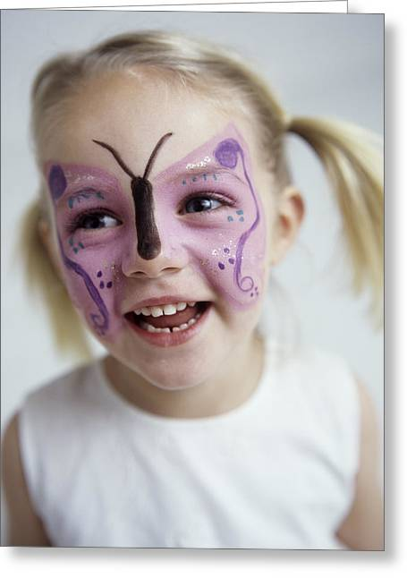 3 Year Old Girl Greeting Cards - Face Painting Greeting Card by Ian Boddy