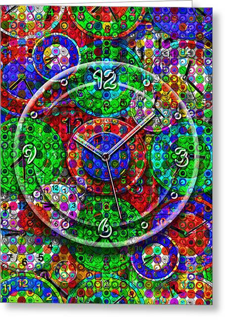 Large Clock Greeting Cards - Faces of Time 3 Greeting Card by Mike McGlothlen