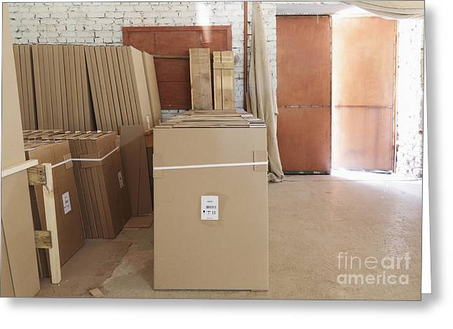 Cardboard Greeting Cards - Factory Warehouse Boxes Greeting Card by Magomed Magomedagaev