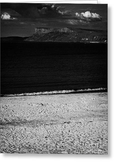 Fair Head On The North Antrim Coast With Ballycastle Sandy Beach Greeting Card by Joe Fox