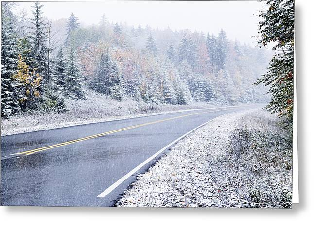 West Virginia Snow Scene Greeting Cards - Fall color and Snow along the Highland Scenic Highway Greeting Card by Thomas R Fletcher