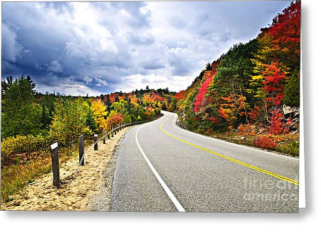 Road Greeting Cards - Fall highway Greeting Card by Elena Elisseeva