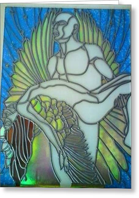 Angels Glass Art Greeting Cards - Fallen angel Greeting Card by Robin Jeffcoate