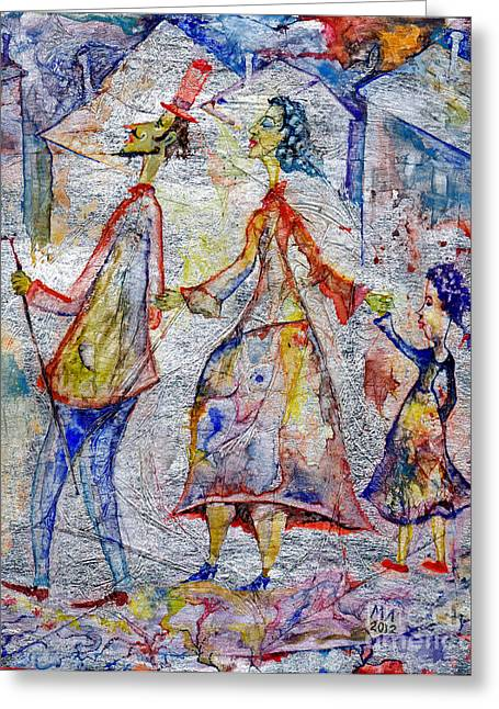 Family Walks Drawings Greeting Cards - Family Greeting Card by Milen Litchkov