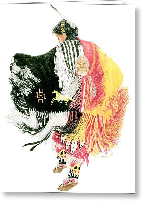 Fancy-dancer Drawings Greeting Cards - Fancy Shawl Dancer at Star Feather Pow-Wow Greeting Card by Tim McCarthy