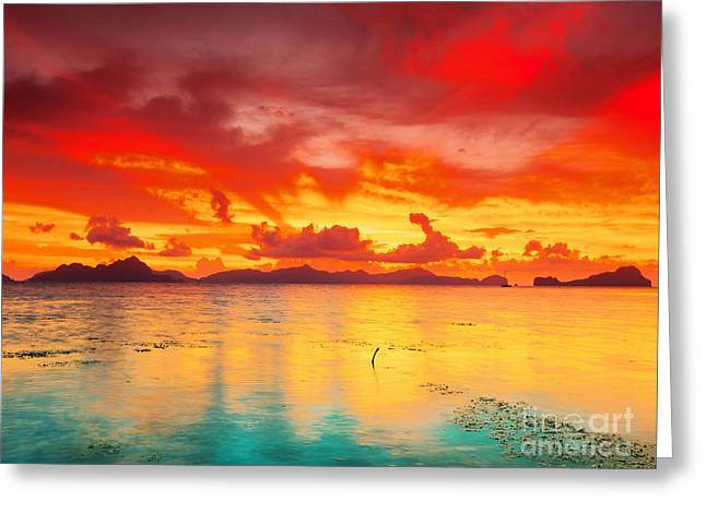 Fantasy Sunset Greeting Card by MotHaiBaPhoto Prints