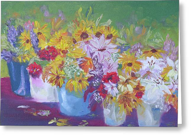 Impressionistic Market Greeting Cards - Farmers Market Flowers Greeting Card by Robert P Hedden
