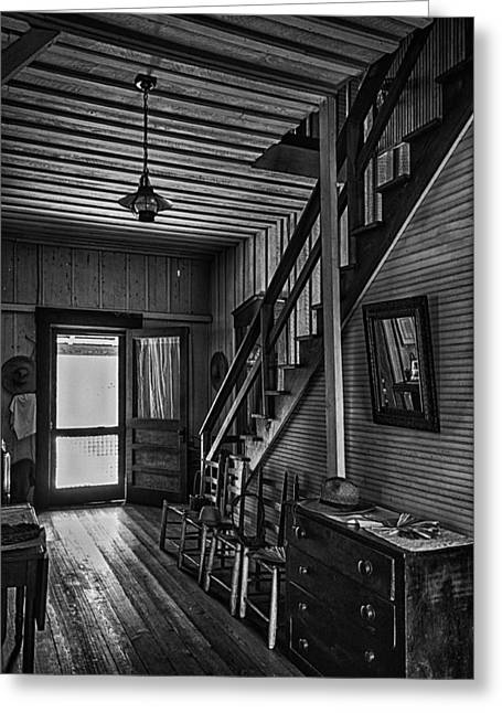 Ladder Back Chairs Greeting Cards - Farmhouse Entry Hall and Stairs Greeting Card by Lynn Palmer
