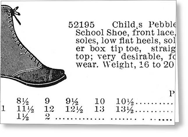 Schoolgirl Greeting Cards - Fashion: Footwear, 1895 Greeting Card by Granger