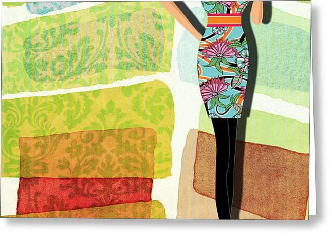 Fashion Illustration Greeting Card by Ramneek Narang