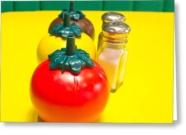 Fast Food Restaurant Greeting Cards - Fast food condiments Greeting Card by Tom Gowanlock