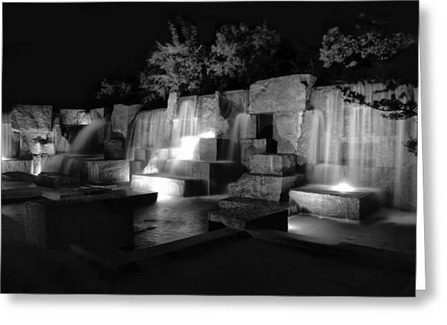 Phot Greeting Cards - FDR Memorial Water Wall Greeting Card by Paul Basile