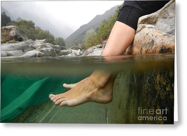 Misty Bridge Greeting Cards - Feet under the water Greeting Card by Mats Silvan