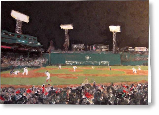 Red Sox Paintings Greeting Cards - Fenway Night Greeting Card by Romina Diaz-Brarda