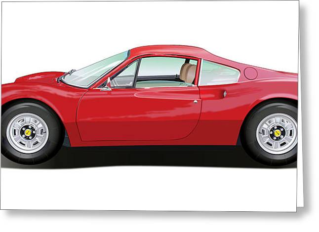Southern Cal Auto Show Greeting Cards - Ferrari Dino Greeting Card by Alain Jamar