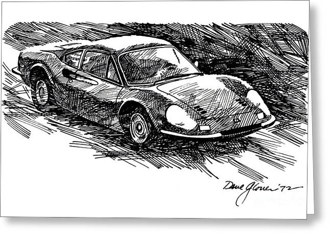 Automotive Illustration Greeting Cards - Ferrari Dino Greeting Card by David Lloyd Glover