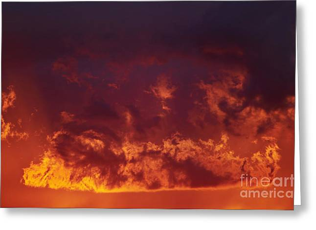 Recently Sold -  - Gloaming Greeting Cards - Fiery Clouds Greeting Card by Michal Boubin
