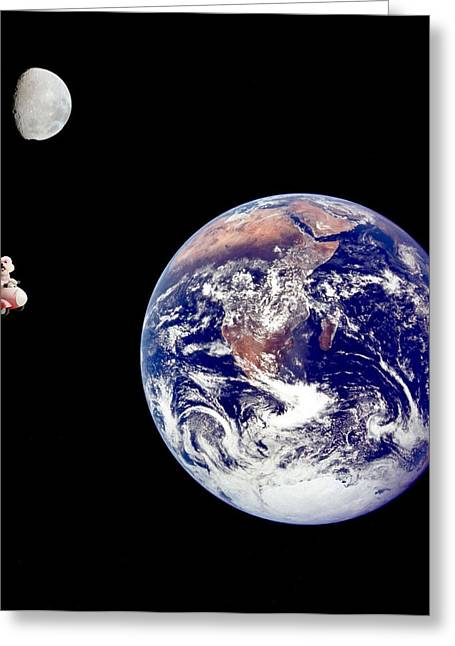 Canine Posters Greeting Cards - Fifi goes to the moon Greeting Card by Michael Ledray