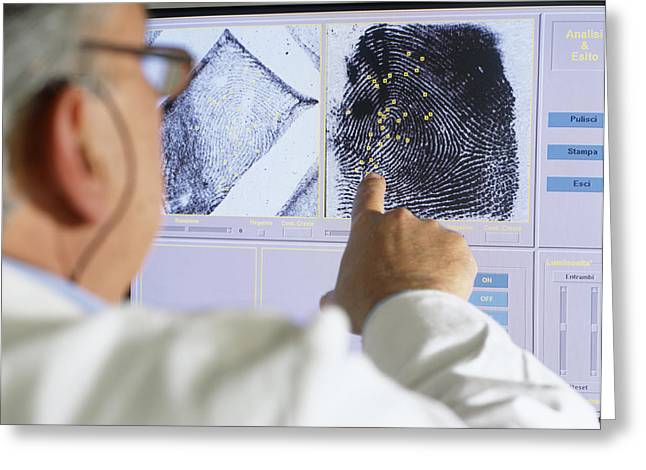 Fingerprint Analysis Greeting Card by Mauro Fermariello