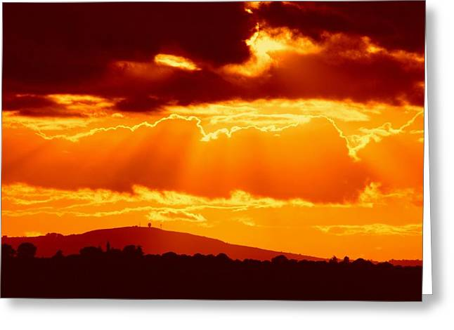 From The Dome Greeting Cards - Fire sky Greeting Card by Ed Lukas