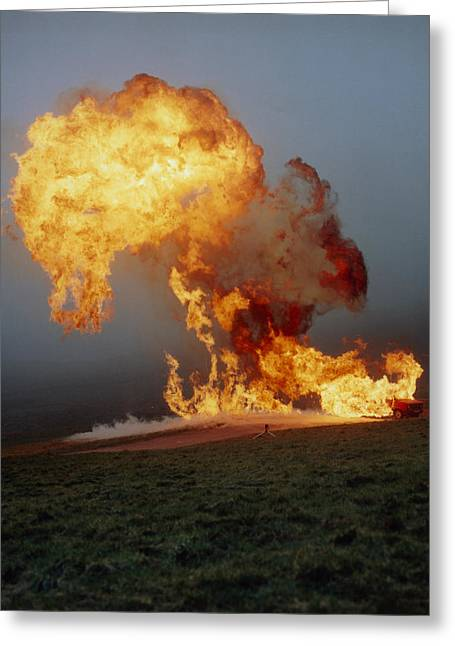 Petroleum Gas Explosion Greeting Cards - Fireball From Liquid Petroleum Gas Explosion Greeting Card by Crown Copyrighthealth & Safety Laboratory
