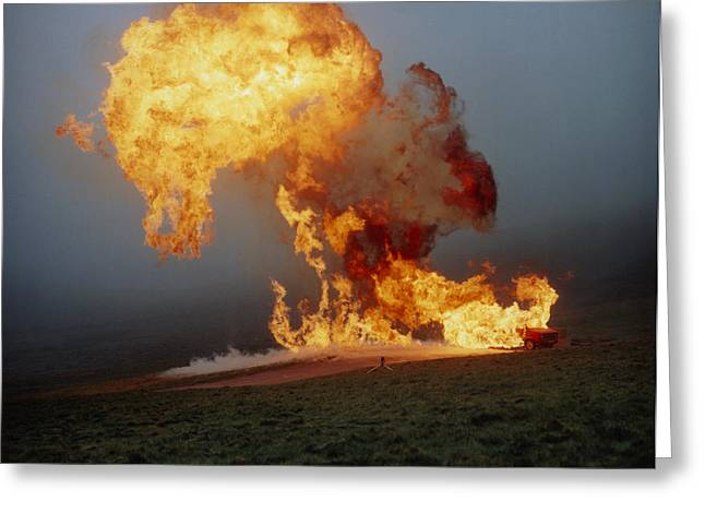 Fireball From Liquid Petroleum Gas Explosion Greeting Card by Crown Copyrighthealth & Safety Laboratory