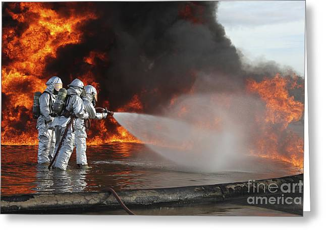 Courage Greeting Cards - Firefighting Marines Battle A Huge Greeting Card by Stocktrek Images