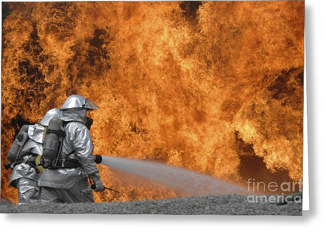 Oxygen Tank Greeting Cards - Firemen Neutralize A Fire Greeting Card by Stocktrek Images