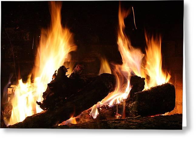 Fireplace Greeting Cards - FirePlace Greeting Card by Ginger Barritt