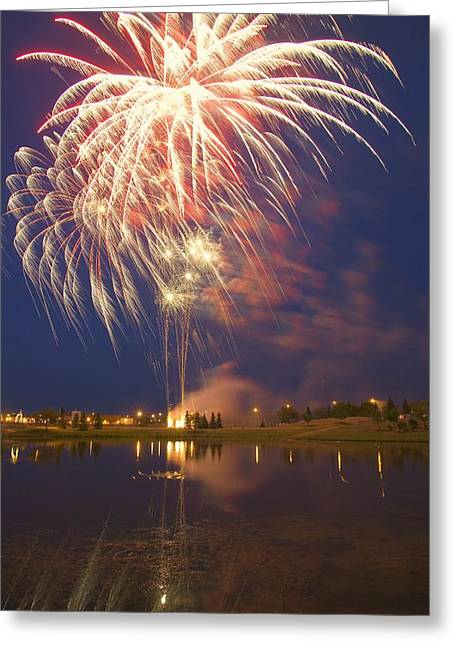 Festivities Greeting Cards - Fireworks Display On Canada Day Greeting Card by Carson Ganci