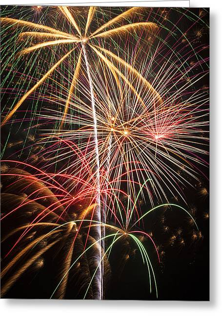 Pyrotechnics Greeting Cards - Fireworks exploding  Greeting Card by Garry Gay