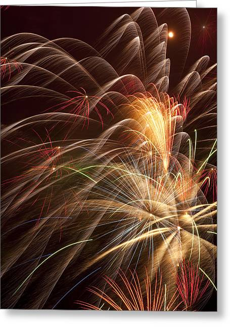 Pyrotechnics Greeting Cards - Fireworks in night sky Greeting Card by Garry Gay