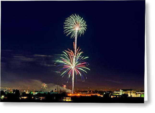 Independance Greeting Cards - Fireworks Greeting Card by Elijah Weber