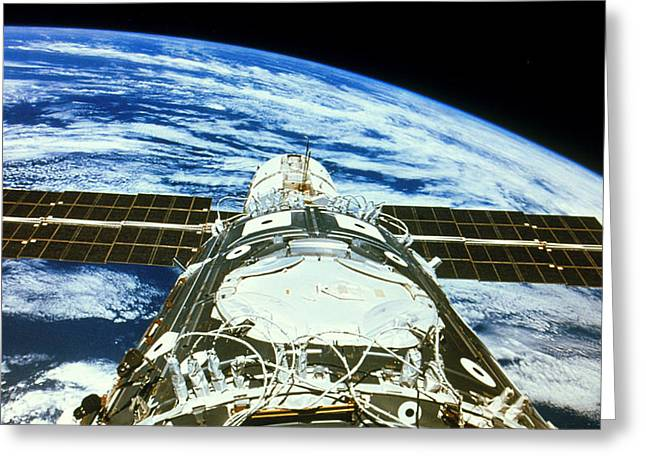 Iss Greeting Cards - First 2 Modules Of The International Space Station Greeting Card by Nasa