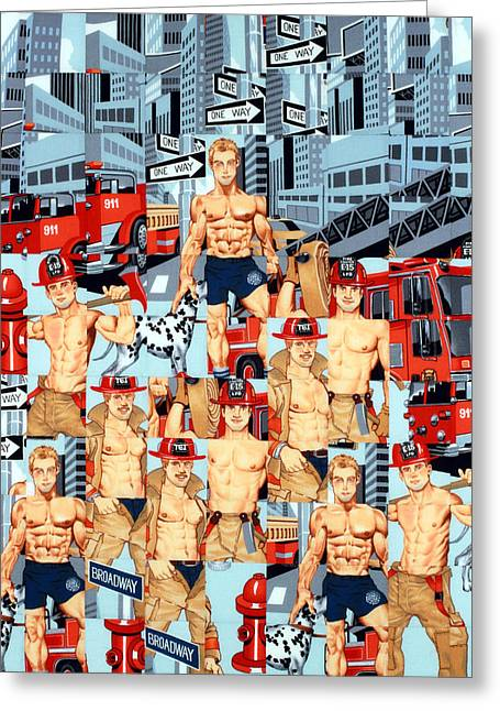 Collage Tapestries - Textiles Greeting Cards - First Responders Greeting Card by Bob Hoffmann